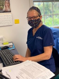 The Longwood Veterinary Center staff is caring for pets during COVID-19, wearing face masks to protect our patients and staff.